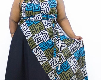 "African Print Maxi Skirt / Women plus size High Waist / plus size  20 - 24 ) 44- 45"" L"