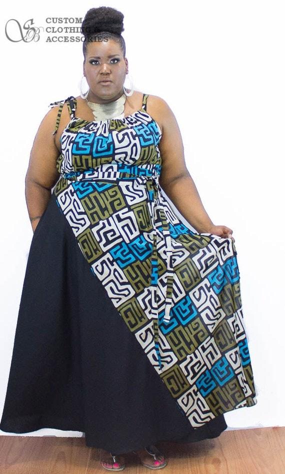 african print maxi skirt / women plus size high waist / plus