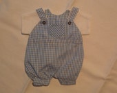 2 Packages of Bag of Twelve Party Favor Gift Bags in Blue Gingham Romper Form.
