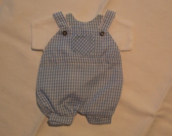 Bag of Twelve Party Favor Gift Bags in Blue Gingham Romper Form.