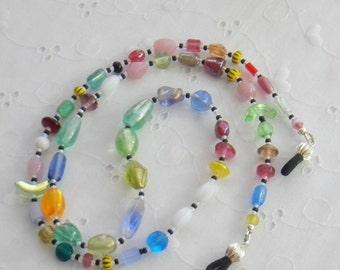 Eyeglass leash, Glasses chain, Beaded glasses holder, Colorful glasses necklace
