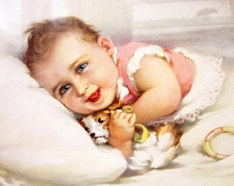 Laughing BABY & dog comforter⎮vintage framed PICTURE⎮Art deco frame⎮kid room retro decor