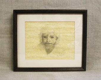 Vintage Child Portrait Drawing, Original Fine Art, Young Boy, Male Portrait, Pencil, Framed, Small, Figure, Wall Decor, Graphite, Signed