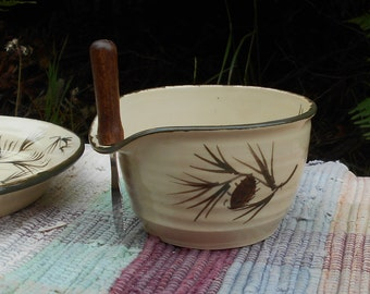 Handmade ceramic serving bowl - pottery bowl - Rustic pottery - Kitchen and entertaining - Pottery Cheese Bowl - Pine cone design