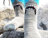 Shark Bite Sock Knitting Pattern