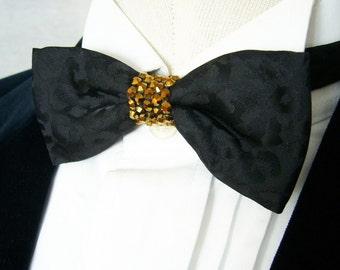Black Leopard Satin Pre-tied Adjustable Bow Tie w/ Gold Crystal Rhinestones