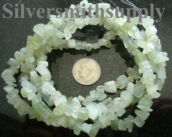 Soo Chow Jade natural stone light green serpentine chip beads 34 in strand sb046