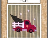 Christmas Delivery A Cute Old Truck Applique packaged Pattern for Tea Towel