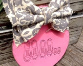Baby Girl~wood ornament with gray and antique white damask ribbon