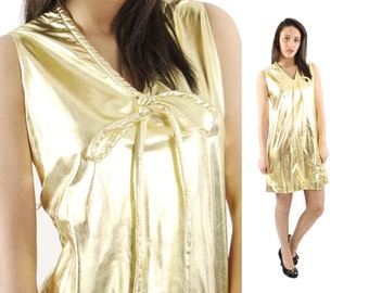 Vintage 60s Mini Party Dress MOD Space Age Dress Gold Metallic Dress James Bond 007 Medium M 1960s Sleeveless Mini Dress