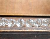 FREE SHIPPING Vintage SINGLE Clear Threaded Glass Hoosier Knob E2074