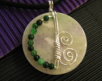 LAVENDER JADE in Silver Wire Wrapped Design...Natural Jade Pendant