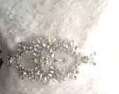 Crystal and Pearl Bridal Applique - Small Focal Piece Applique for belt or hair