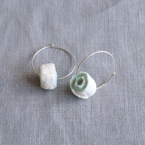 ROLLED No3 hoop earrings, white porcelain charm beads, celadon blue glaze, 925 sterling silver hoops, gift box