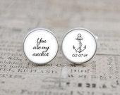 Wedding Cufflinks, Nautical Cufflinks, Personalized for the Groom