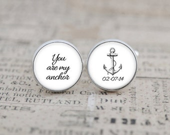 Nautical Cufflinks, Wedding Cuff Links, Wedding Cufflinks, Anchor Cufflinks, Wedding Keepsake, Gift for the Groom