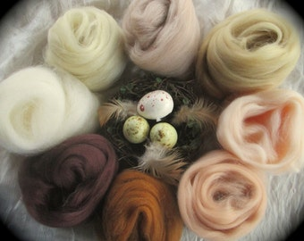 Skin Deep Collection Spinning & Felting Earth Tone Naturals 8 Colors