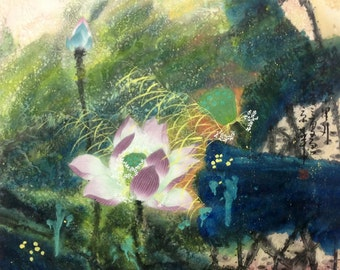 Lotus painting original painting chinese painting abstract painting oriental art floral painting flower painting