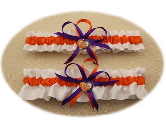 Wedding Garter Set with Clemson Tigers Colors  (Your Choice, Single or Set)