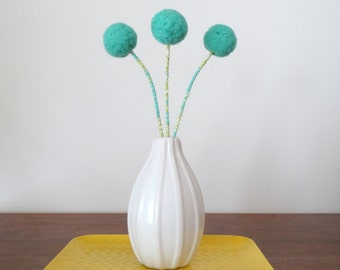 Pom pom flowers. Nursery Flowers.  Sea Foam Green Fake flowers.  Billy balls, Billy Buttons.  Turquoise Teal Wool Felt Balls. Fluffy Trees.