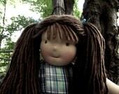 "Waldorf Doll Girl, Handmade Waldorf Doll, Cloth Doll, Rag Doll, 16"" Doll, Cotton and Wool Doll, Doll for Boys and Girls"