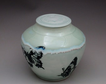 Butterflies Fly Free Lidded Jar Urn Handmade in the USA