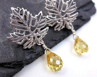 CZ Drop Dangles, Yellow CZ Jewelry, Silver & Yellow Post Earrings, Yellow Cz Earrings, Silver Leaf Posts, Women's Post Drops, Yellow Posts