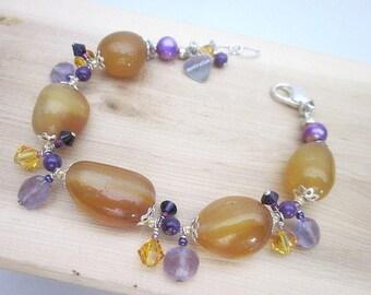 Yellow & Purple Bracelet -- Amethyst Charm Bracelet -- Chalcedony Bead Bracelet -- Yellow Gem Bracelet -- Colorful Gemstone Bracelet