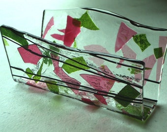 Fused Glass Business Card Holder -  Pinks and Greens 51415