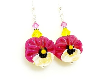 Pink Earrings, Pansy Earrings, Floral Earrings, Lampwork Earrings, Glass Bead Earrings, Glass Earrings, Flower Earrings, Dangle Earrings