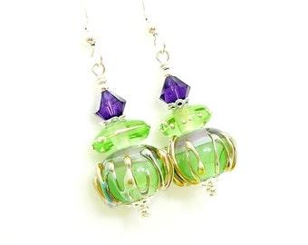 Mint Green Purple Earrings, Lampwork Earrings, Glass Earrings, Beadwork Earrings, Glass Art Earrings, Modern Earrings, Dangle Earrings