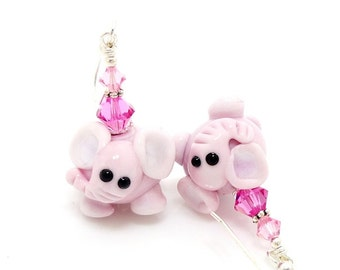 Pink Elephant Earrings, Lampwork Earrings, Glass Earrings, Animal Earrings, Animal Jewelry, Beadwork Earrings, Unique Earrings, Zoo Animals,