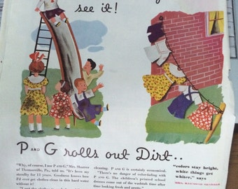 Circa 1934 P and G soap the White naptha soap! Ad 13 1/2 x 10 1/2.