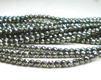 4mm Pyrite Round Faceted Beads 50 pcs.