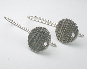 Fine Silver and Sterling Silver Ear Wires 12mm Disk Disc w/Hole French Hook 20.5 Ga. Thai Silver 1 Pair E-113
