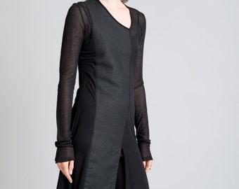 Black Top / Long Tunic / Long Sleeve Shirt / Sheer Blouse / Stylish Shirt / Long Top / marcellamoda - MB267