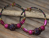 Reserved for Risa 3# dangle Hoops,  Iridescent purple rhinestones ball