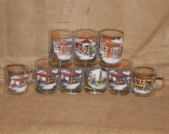 7 Gulf Oil Collectable Drinking Glasses, 2 Gulf Oil Collectable Cups, Gasoline Memorabilia, C99