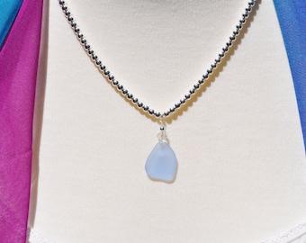 Sea Glass Jewelry Beach Necklace Cornflower Blue Beaded Sterling Silver 3124