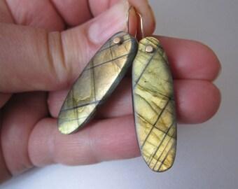 Golden Green Labradorite Long Drops Solid 14k Gold Earrings