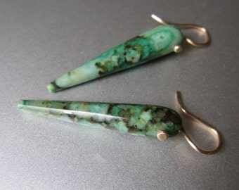 Long Inverted Chrysocolla Drops Solid 14k Gold Earrings