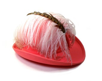 Orange Sherbert Ladies Fedora Bowler Hat with Ostrich Plume and Pheasant Feather Vintage