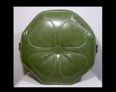 Vivid avocado green round ottoman - mid century pouff footstool - with carry handles ~ octagon ~ 4 four leaf clover pattern ~ faux leather