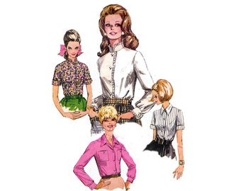 1970 Womens Blouse Pattern Simplicity 7780 Romantic Lace Trim Collar High Neck Shirt Sewing Pattern Size 12 Bust 34 inches