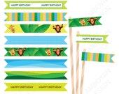 Giraffe Monkey Safari Jungle Printable Straw Flag , animals green blue orange party birthday printable , - Instant Download