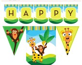 Safari Jungle Printable Birthday Banner Monkey Giraffe Party - Instant Download