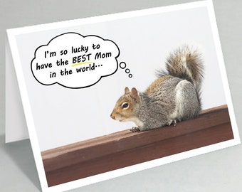 Mother's Day card Happy Mothers Day Mom birthday card the BEST Mom in the world - Squirrel cards - Funny animal cards (Blank inside)