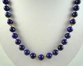 Lapis Necklace Gemstone Necklace Cobalt Blue Necklace Lapis Gold Necklace Dark Blue Gemstone Strand Cobalt Blue Bead Necklace Lapis Strand