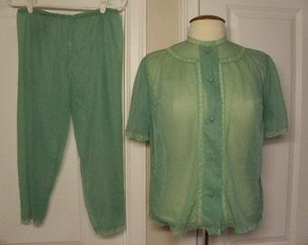 Vintage 1960's Sheer 2 Piece Pajama Set  Med./Large