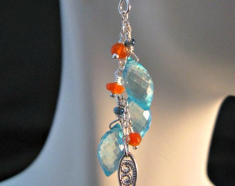Apatite Cluster Earrings,gemstone earrings,dangle earrings,drop earrings,silver earrings,custer earrings,mystic apatite,mystic apatite